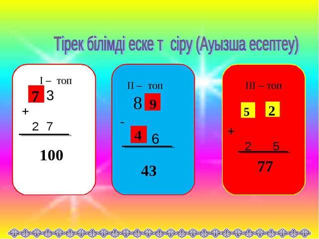 I – топ 3 + 2 7 II – топ 8 - 6 III – топ + 2 5 100 43 77 7 5 2 9 4