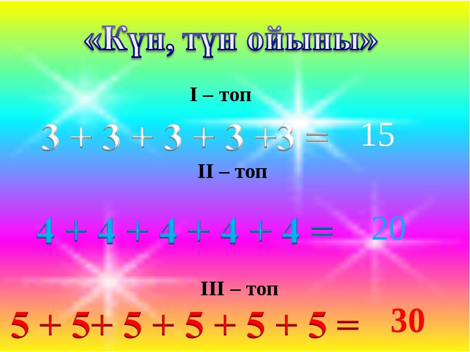 I – топ II – топ III – топ 15 20 30