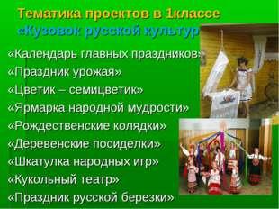 Тематика проектов в 1классе «Кузовок русской культуры» «Календарь главных пра
