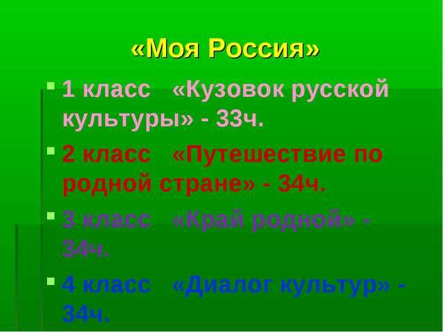 «Моя Россия» 1 класс «Кузовок русской культуры» - 33ч. 2 класс «Путешествие п...