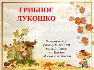 Герасимова О.Н. учитель МОУ СОШ им. А.С. Попова г.о. Власиха Московской облас