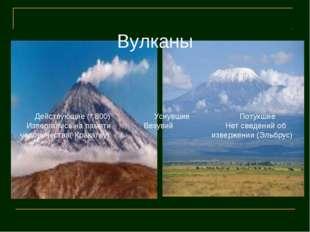 Вулканы Действующие (* 800) Уснувшие Потухшие Извергались на памяти Везувий