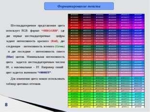 """8 Шестнадцатеричное представление цвета использует RGB- формат """"#RRGGBB"""", где"""