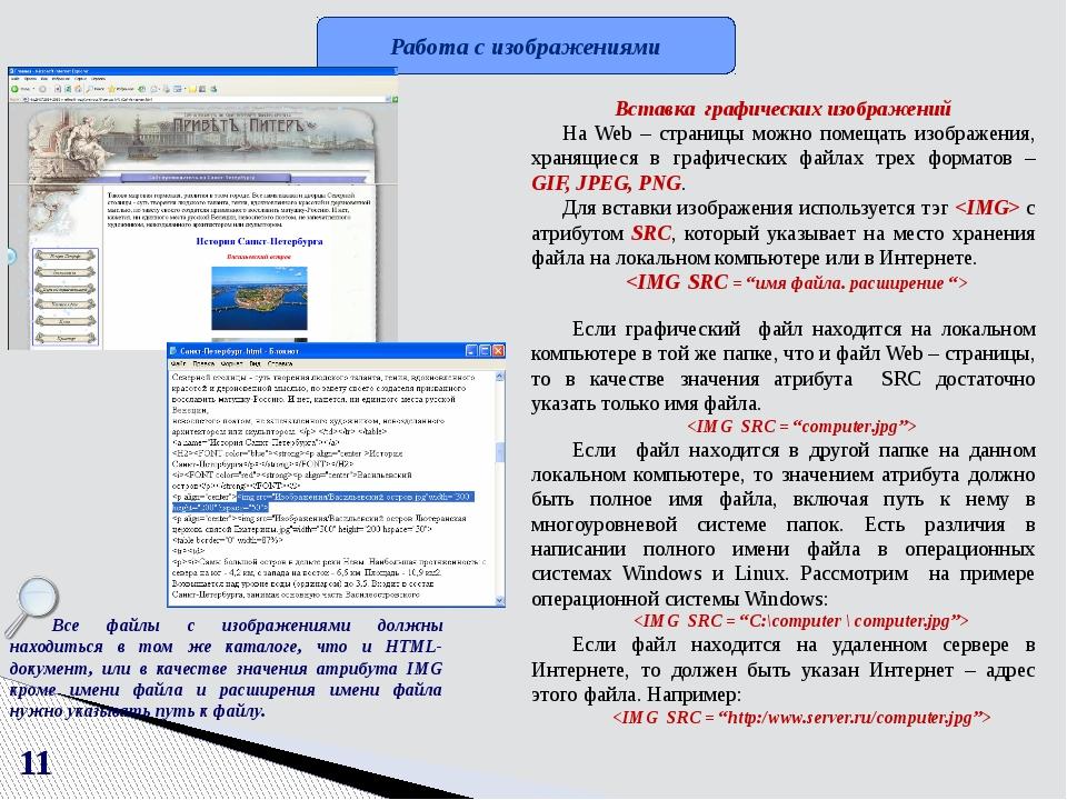"""Атрибуты тега  SRC = """"имя файла. расширение"""" ALT = """"название картинки или поя..."""