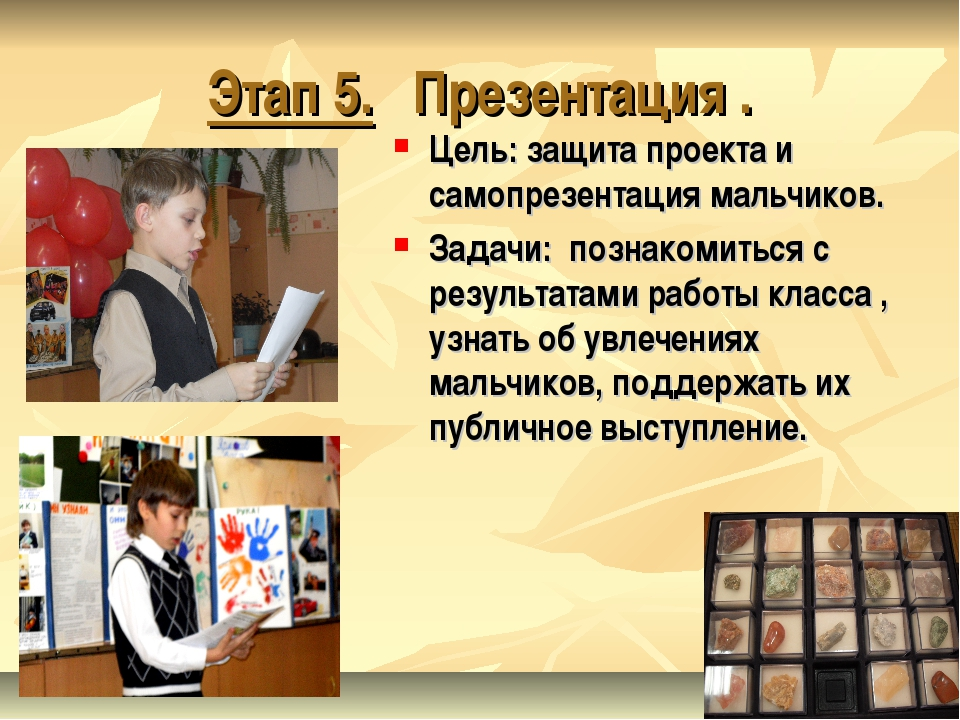 Этап 5. Презентация . Цель: защита проекта и самопрезентация мальчиков. Задач...