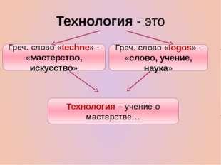 Технология - это Греч. слово «techne» - «мастерство, искусство» Греч. слово «