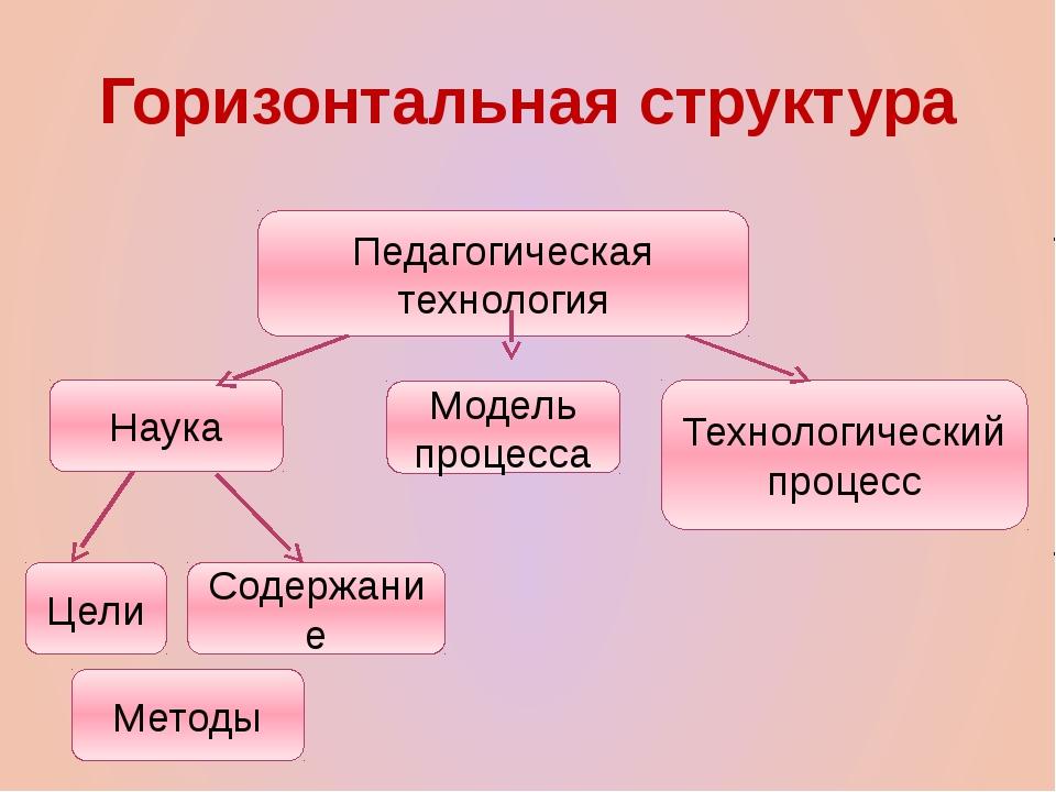 Горизонтальная структура Педагогическая технология Наука Цели Содержание Мето...