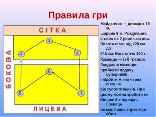 Правила гри Майданчик ― довжина 18 м, ширина 9 м. Розділений сіткою на 2 рівн