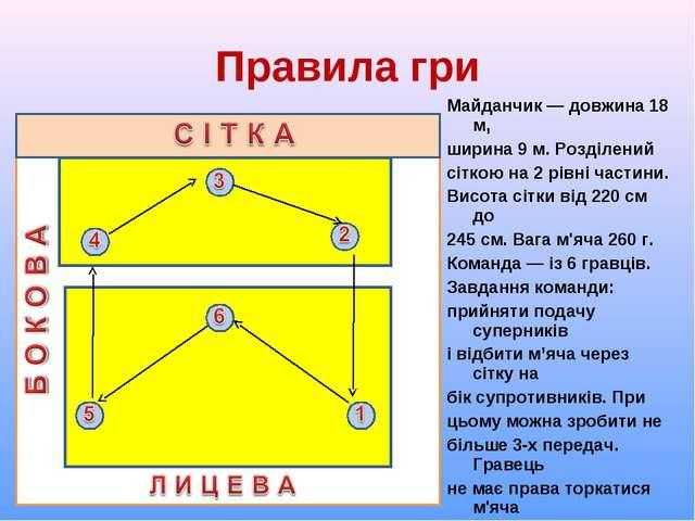 Правила гри Майданчик ― довжина 18 м, ширина 9 м. Розділений сіткою на 2 рівн...