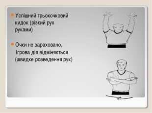 Успішний трьохочковий кидок (різкий рух руками) Очки не зараховано, Ігрова ді