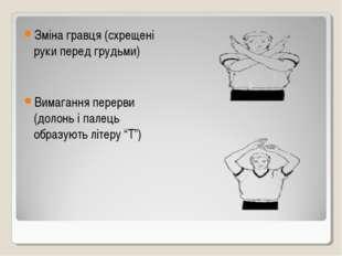 Зміна гравця (схрещені руки перед грудьми) Вимагання перерви (долонь і палець