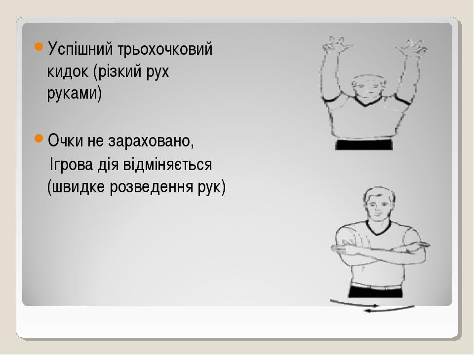Успішний трьохочковий кидок (різкий рух руками) Очки не зараховано, Ігрова ді...