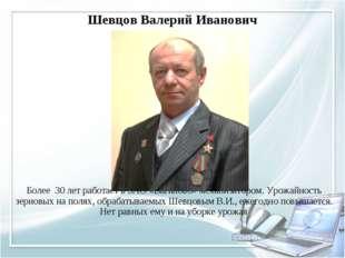 Шевцов Валерий Иванович Более 30 лет работает в ЗАО «Ваганово» механизатором.