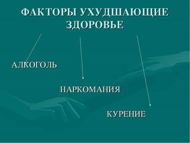 ФАКТОРЫ УХУДШАЮЩИЕ ЗДОРОВЬЕ АЛКОГОЛЬ НАРКОМАНИЯ КУРЕНИЕ