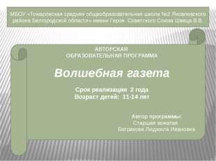 МБОУ «Томаровская средняя общеобразовательная школа №2 Яковлевского района Бе
