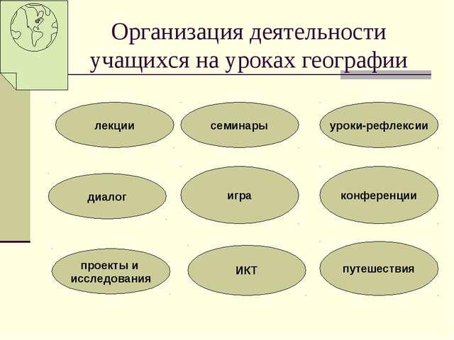 Организация деятельности учащихся на уроках географии лекции диалог проекты...
