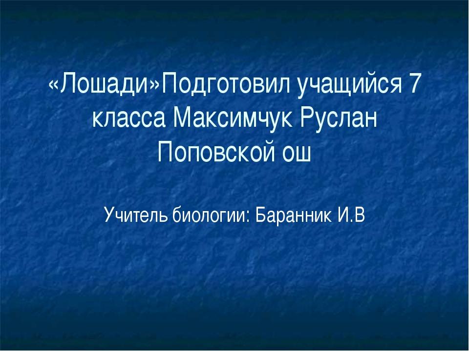 «Лошади»Подготовил учащийся 7 класса Максимчук Руслан Поповской ош Учитель би...