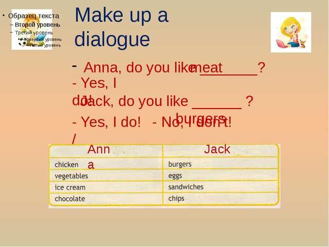 Make up a dialogue Anna, do you like _______? - Yes, I do! meat Jack, do you...