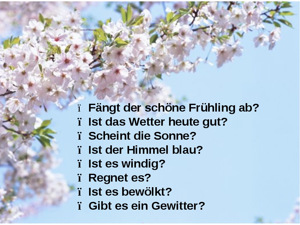 ● Fängt der schöne Frühling ab? ● Ist das Wetter heute gut? ● Scheint die Son...