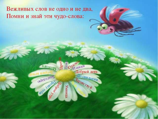 Вежливых слов не одно и не два, Помни и знай эти чудо-слова: Здравствуй До св...