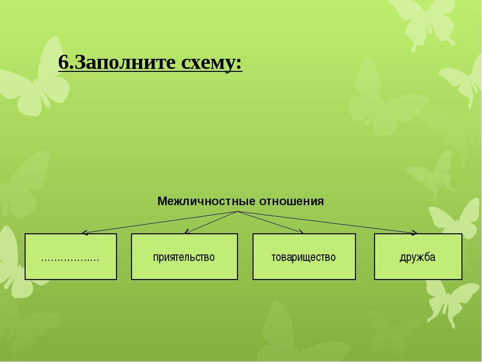 6.Заполните схему: Межличностные отношения ……………… приятельство товарищество д...