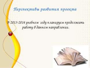 Перспективы развития проекта В 2013-2014 учебном году планируем продолжить ра