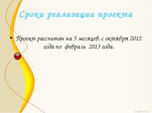 Сроки реализации проекта Проект рассчитан на 5 месяцев, с октября 2012 года п