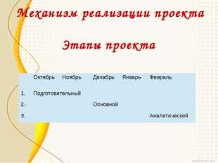 Механизм реализации проекта Этапы проекта Октябрь Ноябрь Декабрь Январь Февра