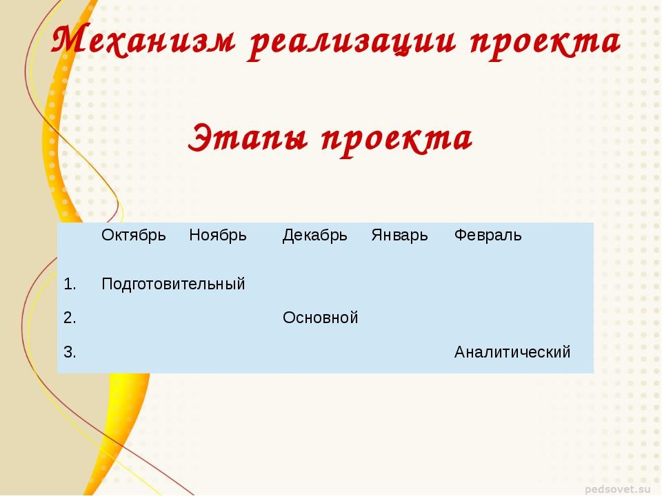 Механизм реализации проекта Этапы проекта Октябрь Ноябрь Декабрь Январь Февра...