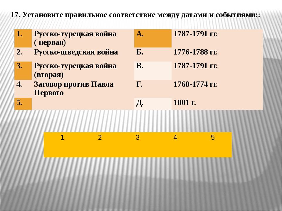 17. Установите правильное соответствие между датами и событиями:: 1. Русско-т...