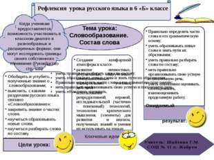 Тема урока: Словообразование. Состав слова Рефлексия урока русского языка в