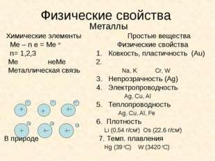 Физические свойства Металлы Химические элементы Простые вещества Ме – n e = М