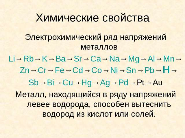 Химические свойства Электрохимический ряд напряжений металлов Li→Rb→K→Ba→Sr→C...