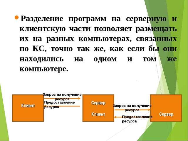 Разделение программ на серверную и клиентскую части позволяет размещать их на...