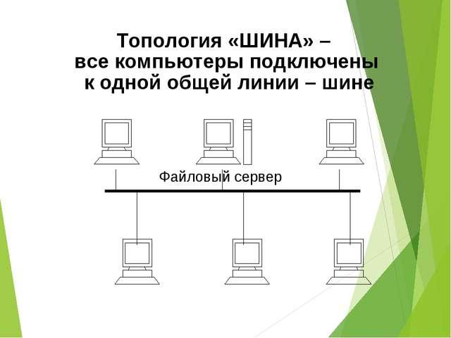 Топология «ШИНА» – все компьютеры подключены к одной общей линии – шине
