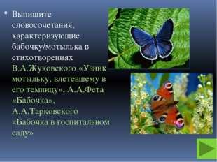 Выпишите словосочетания, характеризующие бабочку/мотылька в стихотворениях В.