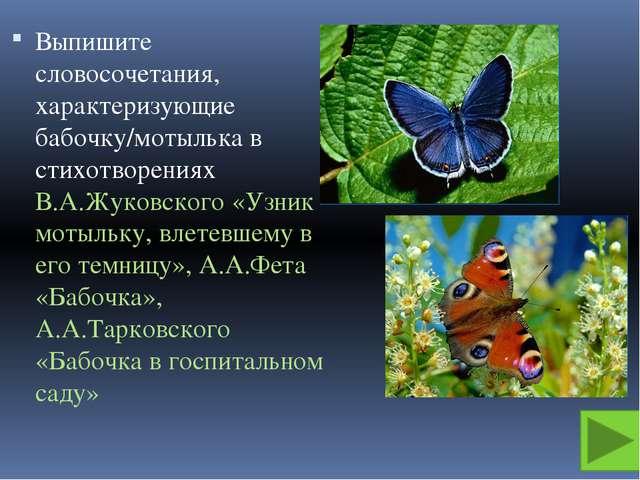 Выпишите словосочетания, характеризующие бабочку/мотылька в стихотворениях В....