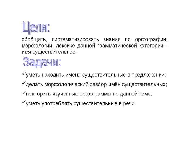 обобщить, систематизировать знания по орфографии, морфологии, лексике данной...