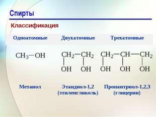 * Спирты Классификация ОдноатомныеДвухатомныеТрехатомные  МетанолЭтандио