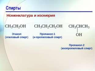 * Спирты Номенклатура и изомерия   Этанол (этиловый спирт) Пропанол-1 (н-пр