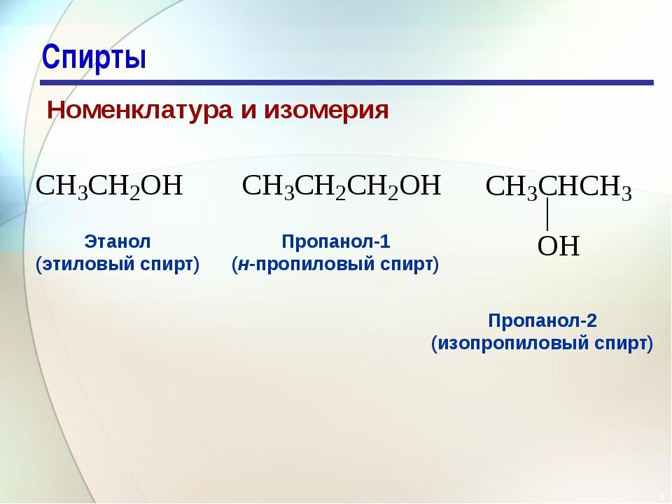 * Спирты Номенклатура и изомерия   Этанол (этиловый спирт) Пропанол-1 (н-пр...