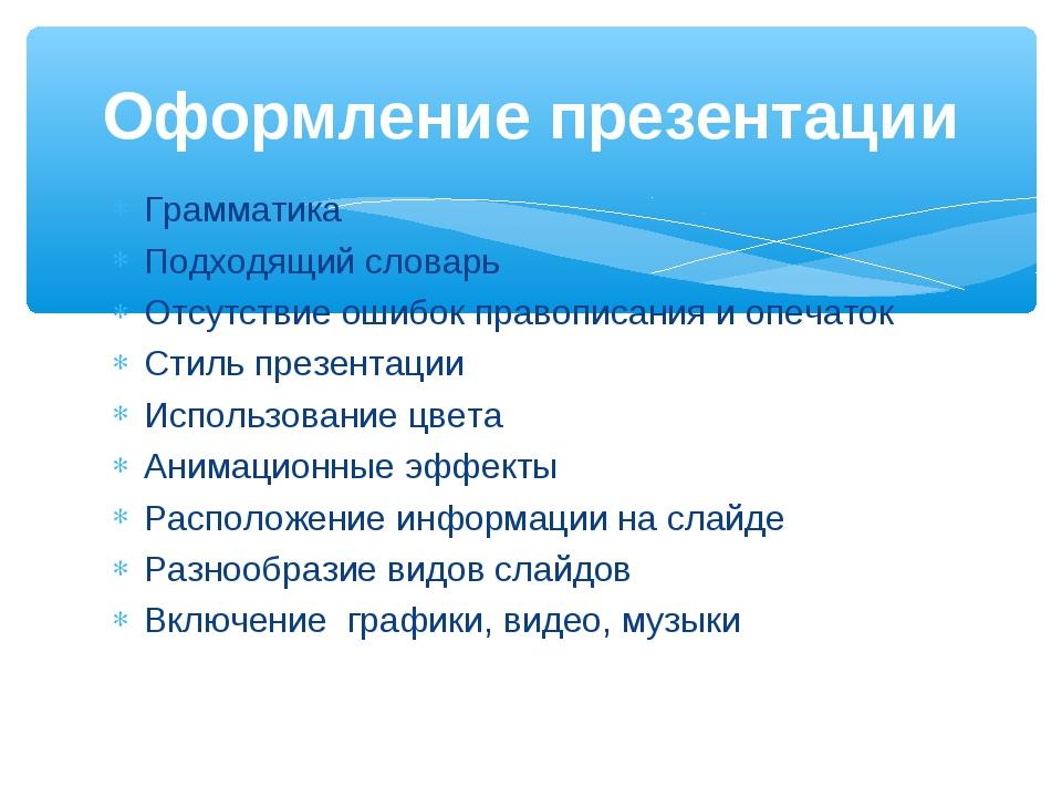 Грамматика Подходящий словарь Отсутствие ошибок правописания и опечаток Стиль...