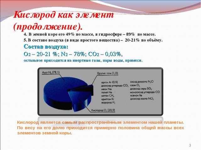 Кислород как элемент (продолжение). 4. В земной коре его 49% по массе, в гидр...