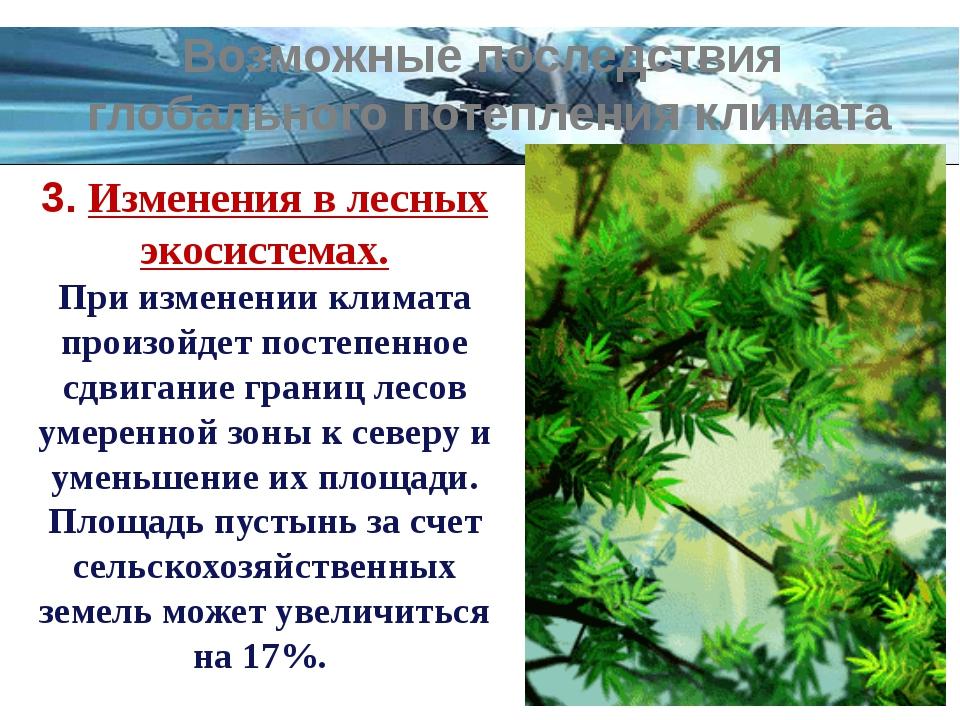 3. Изменения в лесных экосистемах. При изменении климата произойдет постепенн...