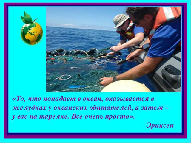 «То, что попадает в океан, оказывается в желудках у океанских обитателей, а з...