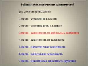 Рейтинг психологических зависимостей (по степени привыкания) 1 место - стремл