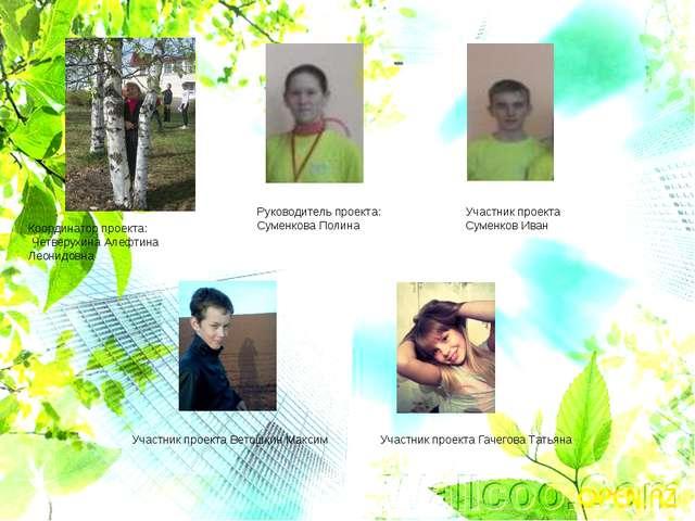 Координатор проекта: Четверухина Алефтина Леонидовна Руководитель проекта: Су...