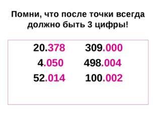 Помни, что после точки всегда должно быть 3 цифры! 20.378 309.000 4.050 498.0