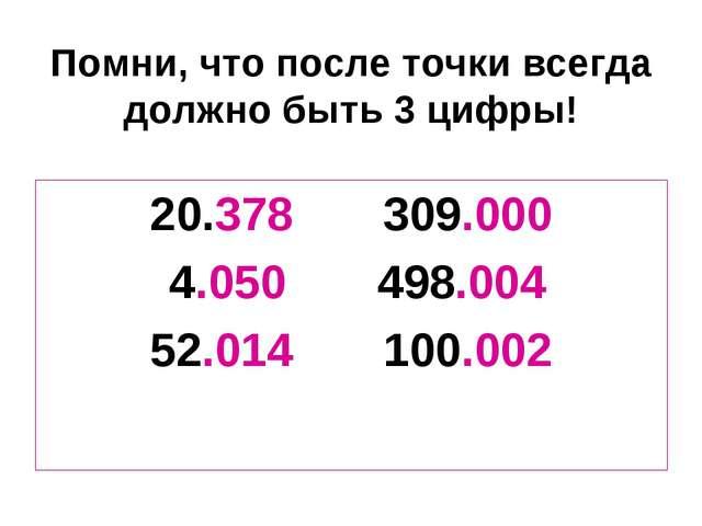 Помни, что после точки всегда должно быть 3 цифры! 20.378 309.000 4.050 498.0...