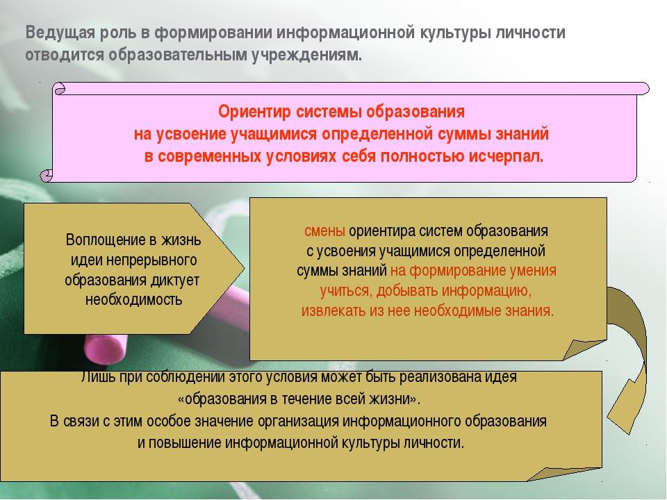 Ведущая роль в формировании информационной культуры личности отводится образо...